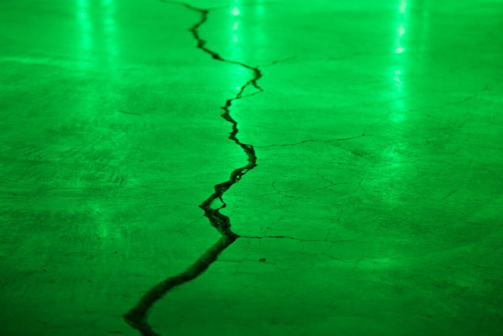 A cracked screed floor